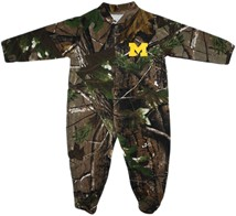 Michigan Wolverines Block M Realtree Camo Footed Romper