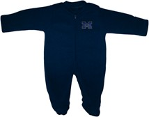 "Michigan Wolverines Outlined Block ""M"" Fleece Footed Romper"