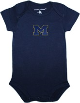 "Michigan Wolverines Outlined Block ""M"" Newborn Infant Bodysuit"