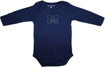"Michigan Wolverines Outlined Block ""M"" Long Sleeve Bodysuit"