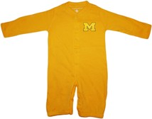 "Michigan Wolverines Outlined Block ""M"" ""Convertible"" Gown (Snaps into Romper)"