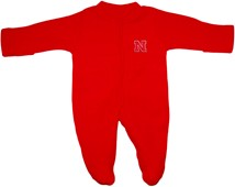 Nebraska Cornhuskers Block N Fleece Footed Romper