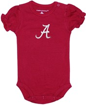 "Alabama Crimson Tide Script ""A"" Puff Sleeve Bodysuit"