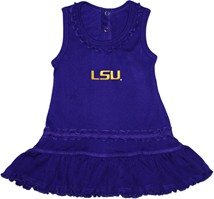 LSU Tigers Script Ruffled Tank Top Dress