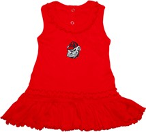 Georgia Bulldogs Head Ruffled Tank Top Dress