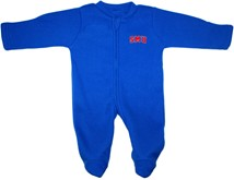 SMU Mustangs Word Mark Fleece Footed Romper