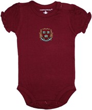 Harvard Crimson Veritas Shield with Wreath & Banner Puff Sleeve Bodysuit