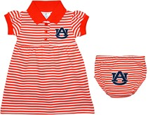 "Auburn Tigers ""AU"" Striped Game Day Dress with Bloomer"