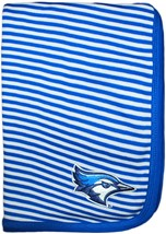 Creighton Bluejay Head Striped Baby Blanket