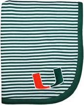 Miami Hurricanes Striped Baby Blanket