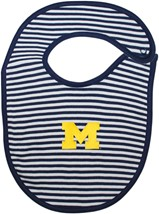 Michigan Wolverines Block M Striped Newborn Bib