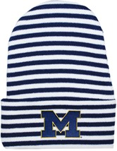 "Michigan Wolverines Outlined Block ""M"" Newborn Baby Striped Knit Cap"