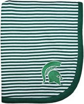Michigan State Spartans Striped Baby Blanket