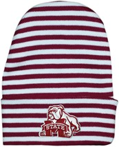 Mississippi State Bulldog Mark Newborn Baby Striped Knit Cap