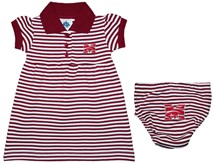 Morehouse Maroon Tigers Striped Game Day Dress with Bloomer