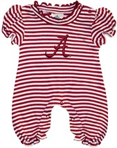 "Alabama Crimson Tide Script ""A"" Striped Puff Sleeve Romper"