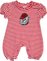 Georgia Bulldogs Head Striped Puff Sleeve Romper