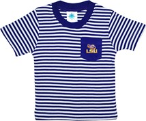 LSU Tigers Short Sleeve Striped Pocket Tee