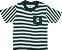 Michigan State Spartans Short Sleeve Striped Pocket Tee