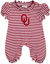 Oklahoma Sooners Striped Puff Sleeve Romper